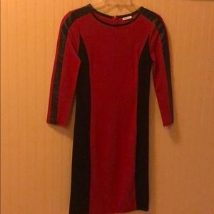 Red and black dkny leather trim dress